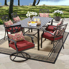 7 Piece Metal Patio Dining Set Outdoor Home Seating Furniture Garden Deck Pool