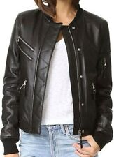 Womens Black Los Angeles Bomber Soft Real Leather Jacket