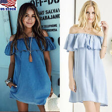 US Women Off Shoulder Mini Jean Dress Denim Skirt Beach Party Cocktail Evening