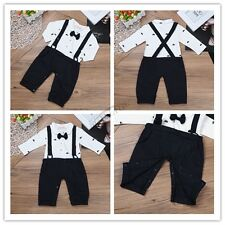 Gentleman Toddler Baby Boys T-Shirt Tops+straps Pants Bow Tie Outfit Clothes Set
