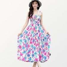 Summer Fashion Spaghetti Strap Floral Print Ankle-length Dress For Women