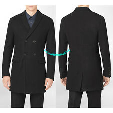 NWT CALVIN KLEIN MENS BODY SLIM FIT DOUBLE BREASTED COAT JACKET BLACK SIZE M