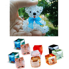 Glass 10Pcs Spacer Beads Square Crystal DIY Faceted Loose 4mm/6mm Cube