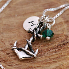 Sterling Silver Personalised Nautical Antiqued 3D Anchor Necklace w Birthstone