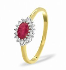 Ruby Engagement Ring Diamond Cluster Yellow Gold Size F-Z Certificate Appraisal