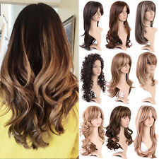 Ladies Full Wigs Long Hair Natural Curly Wavy Straight Synthetic Wig Daily Life