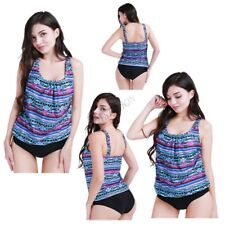 Women Two Piece Swimsuit Blouson Sporty Tankini Padded Top+Briefs Beach Swimwear