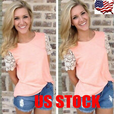 USA Women Short Sleeve Loose Top Blouse Plus Size Lace Floral T Shirt Summer Tee