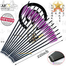 "3/6/12/24PK 22"" Carbon Arrows Curved Nocks Purple&White Vanes F Crossbow Archery"