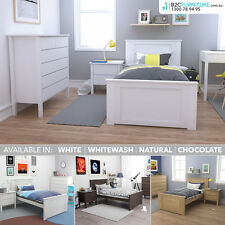 Single size bed frame, solid timber construction - white,natural,brown,whitewash