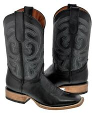 Mens Black Square Toe Embroided Leather Western Cowboy Boots