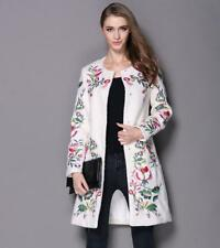 Chic Womens Wool Blend Embroidered Trench Outwear Long Black/White Jacket Coat