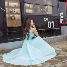 Solid Color Large Size Chiffon Fabric Wedding Party Beach Dress For Wmen