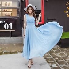 Women Light Blue Color Large Size Chiffon Fabric Wedding Party Beach Dress
