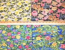 CHOOSE ONE : ASSORTED WATER LILIES LILY POND COTTON FABRIC WATER HOFFMAN NCOTT