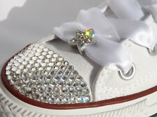 Crystal Star Shoe Charms & Pair White Ribbon Laces 4 Blinged Lo & Hi Trainers