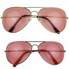 Pink Lens Thin Metal Frame Color Tinted Lens Teardrop Aviator Fashion Sunglasses