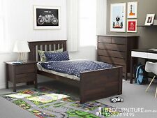 Modern Single size bed frame,Hardwood timber in Dark Brown