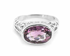925 Sterling Silver Ring with Amethyst Natural Gemstone Bezel Settings Handmade.