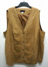 NEW Plus size great long Ladies Vest in Suede leather Look brown 56,58,60,62