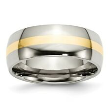 Stainless Steel and 14k Yellow Inlay 8mm Engravable Polished Band
