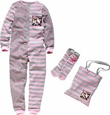 1D One Direction Sleepover Set Pink/Grey Bodysuit / one Piece Slipper Socks Bag