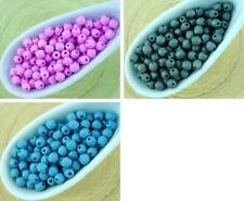 100pcs Silk Matte Round Faceted Fire Polished Small Spacer Czech Glass Beads 3mm