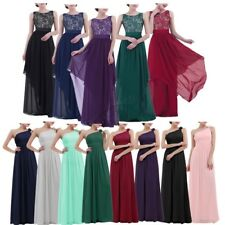 Women Formal Chiffon Long Bridesmaid Dress Evening Party Wedding Lace Maxi Dress