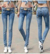 Light Blue Color Summer Wear Plus Size Cotton Material Jeans for Women