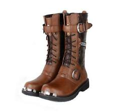 Mens New Punk Goth Vintage army Combat moto Boots Buckle zip up Mid Calf Boots