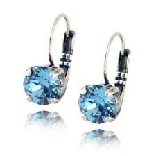 Nara Round Crystal Earrings, Silver Plated Leverback with Swarovski