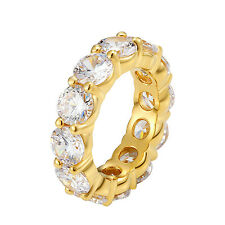 Solitaire Eternity Tennis Ring 14k Gold Finish Stainless Steel Simulated Diamond