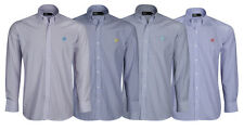 Mens Striped Shirt Gents Long Sleeved Embroidered Horse Work Casual shirt M-XXL