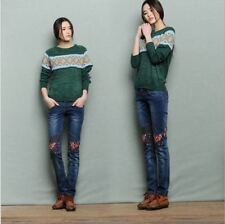 Women Style Washed Vintage Embroidery Blue Color Slim Jeans