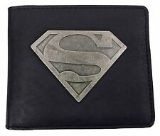 DC Comics - Mens Black Superhero Superman Logo PU Faux Leather Bifold Wallet
