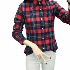 Women Red Color Plaid Pattern Long Sleeve Spring Wear Shirt Plus Size