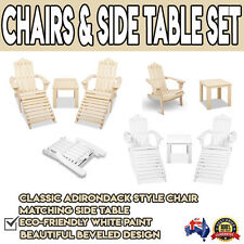 Outdoor Patio Wooden Deck Chair Table Set Natural White Adirondack Furniture