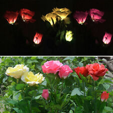 Solar Power Lily Rose Flower Stake Landscape Lamp Yard LED Light Outdoor Garden