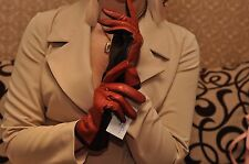 Women Italian geinuine perforated Lambskin nappa color Leather unlined Gloves