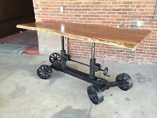 "86"" Industrial Crank Table Legs: Adjustable Base with Wheels and Acacia Wood Top"