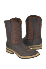 Men's Saddle Style Dark Brown Leather Cowboy Boots Rodeo Toe Western Wear.