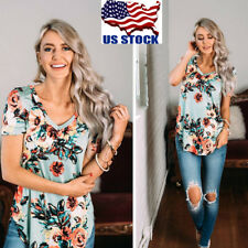 Women Summer V Neck Floral Print Top Blouse Short Sleeve Loose Casual T Shirt US