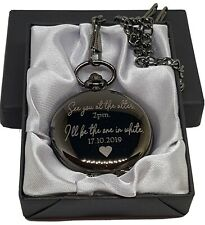 Personalised engraved pocket watch gift usher father groom anniversary wedding