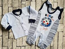"""NEW Baby Boys """"KING of The JUNGLE"""" Set of Babygrow & Long Sleeve Top 100% Cotton"""