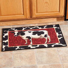 Accent Rug COW ROOSTER FRUIT Kitchen 40 x 20 Entryway Mat Nylon Non-Skid  ~