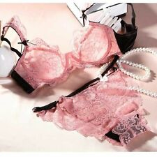 new Lace Bra Set Floral thin Cup Bras Sexy Girls Lingerie Underwear Set Pink