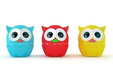 Kikkerland Owl 60 Minute Kitchen Timer Blue Red Yellow NEW