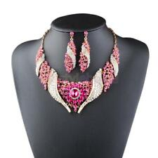 Female Wedding Party Faux Crystal Rhinestone Rotate Necklace Earrings