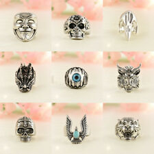 Men Punk Stainless Steel Silver Fashion Gothic Skull Finger Ring Jewelry SZ 8-10
