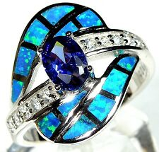 TANZANITE & BLUE FIRE OPAL INLAY 925 STERLING SILVER RING SIZE 8-9